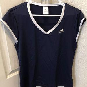 adidas Climalite Navy V-Neck Short Sleeve Shirt M